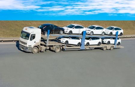 car carrier truck Stock Photo