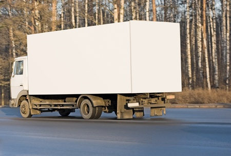 blank white delivery van truck deliver goods of my business vehicles series photo