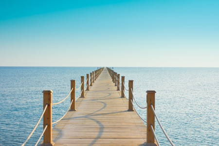 boat deck: Pier in Heavenly Blue Place  Stock Photo