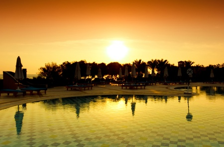 Sun over Hotel Pool  photo
