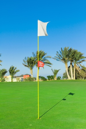 stirred: Golf Flag Stirred By The Wind  Stock Photo