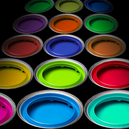 Paint buckets with colors photo