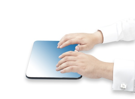Business man touching tablet PC