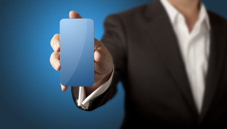 Business man showing smart phone with blank blue screen