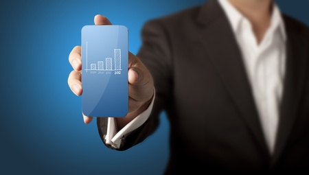 Business man showing smart phone with chart on screen Stock Photo - 13283566