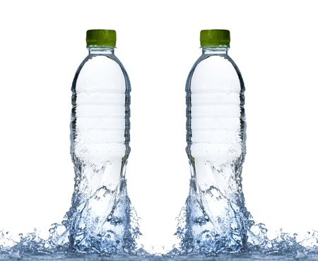 Water splash with bottles and green cap isolated on white background