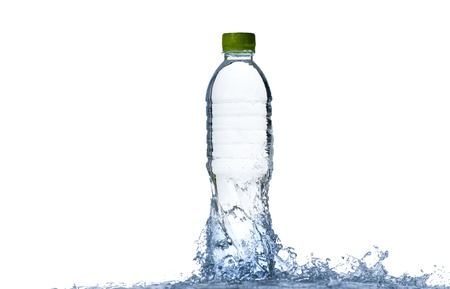 fluids: Water splash with bottle and green cap isolated on white background