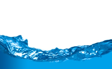Blue water wave with shallow depth of field isolated on white background