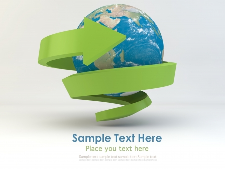 Realistic globe with spiral green arrow for recycle and eco concept Stock Photo