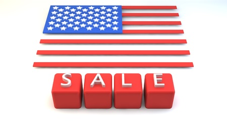 Red blocks with  SALE  wording and USA flag in block style in background