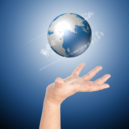 Hand showing globe with mail icons around the globe
