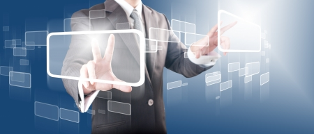 Business man touching on touch screen icon