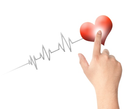 Finger touching red heart and pulse