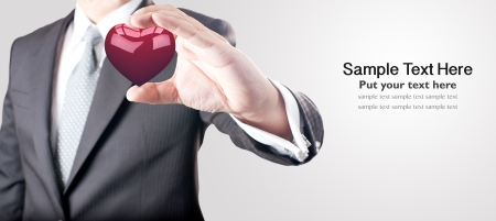 Man holding red heart  Stock Photo