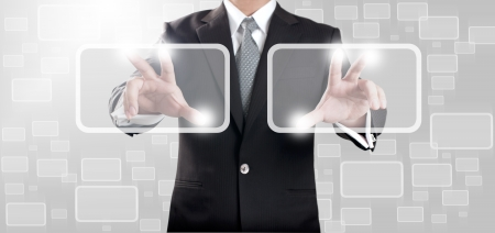 Business man touching on touch screen icon  Stock Photo