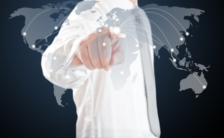 Business man point to touch screen map at Greece  For Europe economic crisis concept Stock Photo