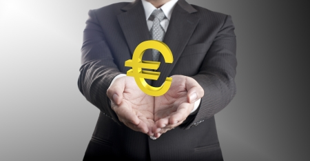 Business man holding euro currency sign  Concept for Europe economic crisis