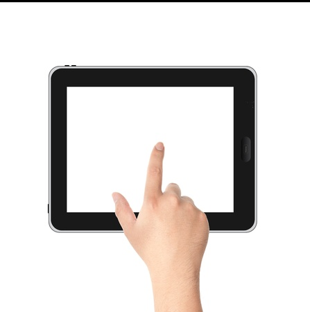 Finger pointing at tablet PC in landscape position with white screen isolated on white background photo