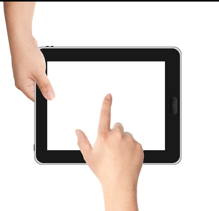 tablet pc in hand: Finger pointing at tablet PC in landscape position with white screen isolated on white background Stock Photo