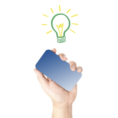 Man s hand holding on the touch screen mobile phone with hand draw light bulb  Concept for power saving  Stock Photo