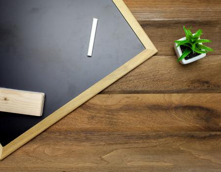 chalk eraser: Chalk,Chalk board and eraser on wooden background