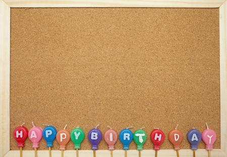 birth day: Happy Birth day candles on cork board