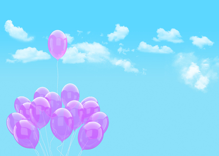 Escape conceptual- balloon holding cloud into the sky background