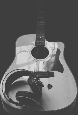 Guitar ,headphone and guitar pick Stock Photo