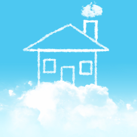 cloudy home: blue sky and cloudy home