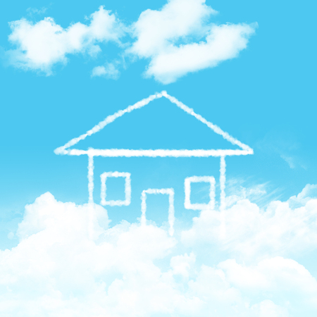 blue sky and cloudy home