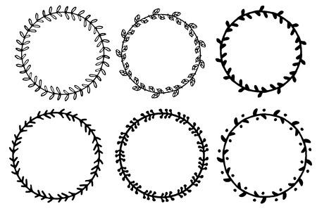Set Of Doodle Floral And Leaf Circle Frames.illustration Vector ...