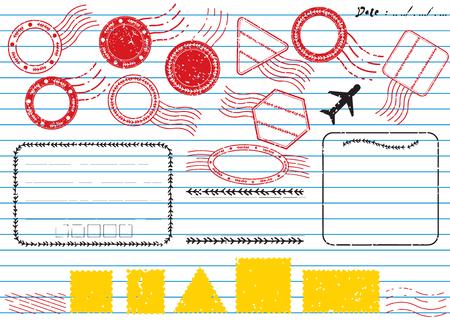 Blank postal stamps and foliage set.illustration vector