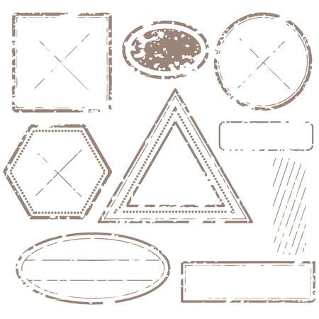 Blank postal stamps set. Illustration vector