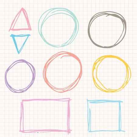 낙서 스퀘어, 원, 삼각형 및 스케치. 벡터 일러스트 레이션 스톡 콘텐츠 - 83380882