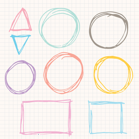 Doodle Square,circle,triangle and sketching.vector illustration