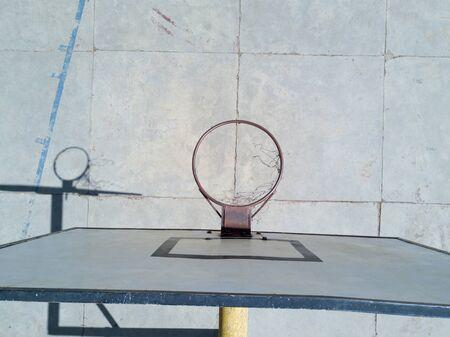 Basketball hoop with net. Sport playground Basketball rims net