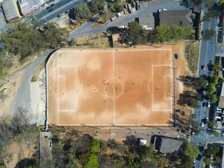Primitive football field. Top view, aerial photo.