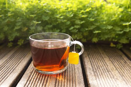 Glass transparent cup of black tea and dry tea in bags on the old wooden background, selective focus.