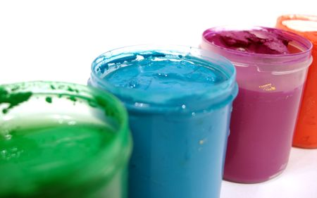 many opened paint jars with gouache  Stock Photo - 827216