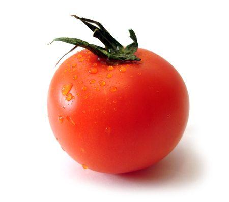 single tomato over white background, isolated  photo