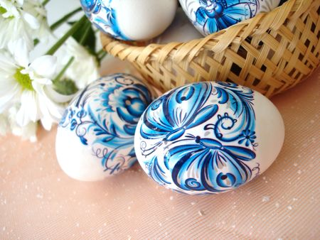beautiful blue easter eggs and basket with flowers  Stock Photo - 846871
