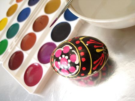 colored easter egg and paint  photo