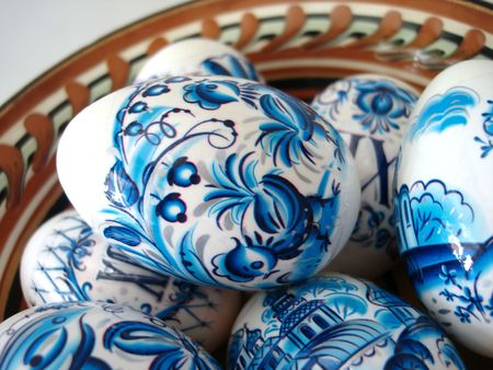 beautiful blue easter eggs in a dish  Stock Photo - 846843
