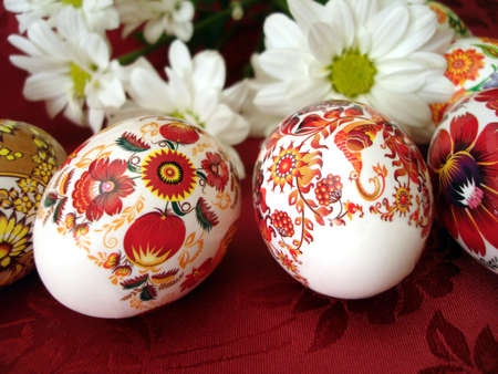 beautiful red easter eggs with white flowers  Stock Photo