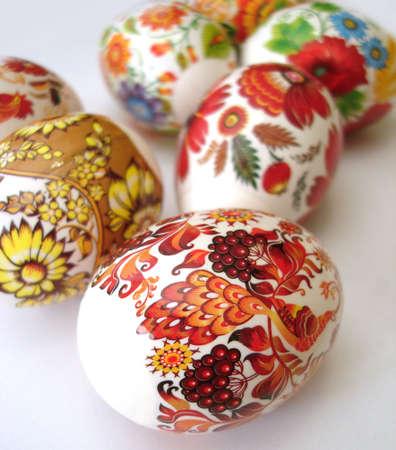 eastertime: beautiful multi-coloured easter eggs  Stock Photo