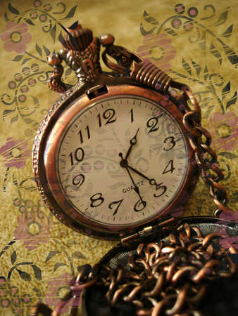 old clock on vintage background with flowers  Stock Photo