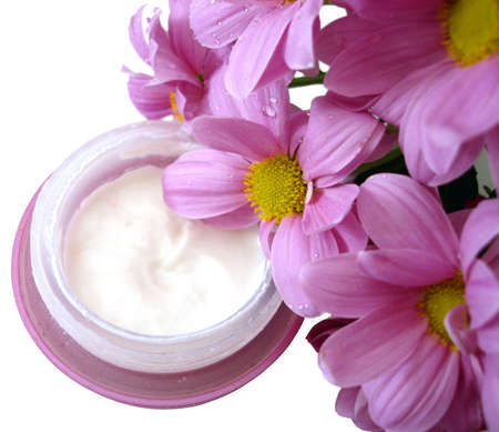 violet container of cosmetic moisturizing cream with flowers  Stock Photo