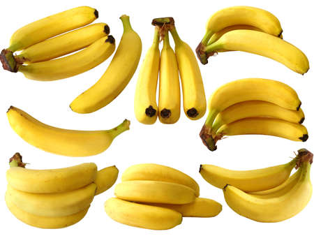 exotics: collection of isolated banana on white background