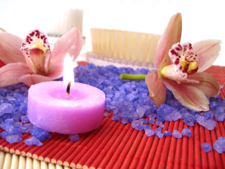 Spa essentials, focus on candle  photo
