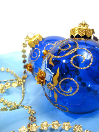 blue Christmas balls with gold on background Stock Photo - 1067260